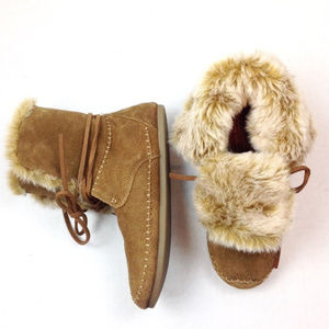 Toms Fur Lined Suede Ankle Boot Moccasins 8